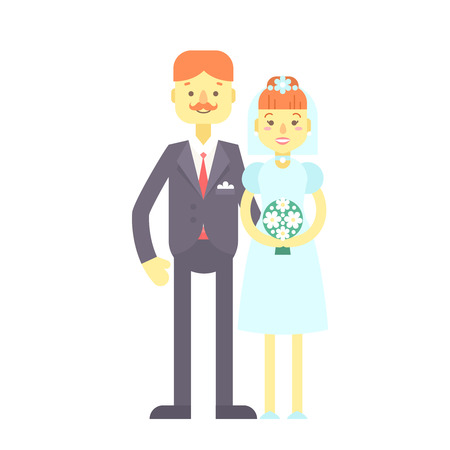 bride bouquet: Wedding couple. Cute flat characters, groom and bride, in suit and wedding dress with flower bouquet, just married. Heterosexual relationships.