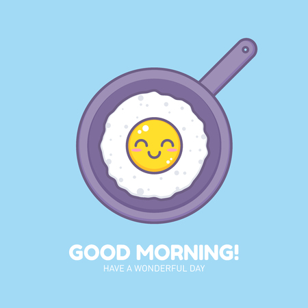 Cute fried omelet on a pan thin lined icon. Sunny side up smiling egg character design with outlines for company business logo or cartoon templates Illustration