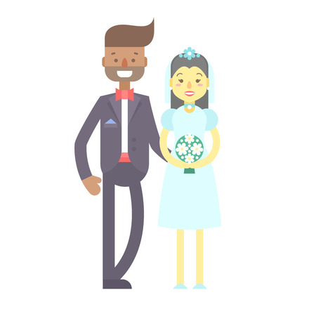 Wedding couple. Cute flat characters, groom and bride, in suit and wedding dress with flower bouquet, just married. Heterosexual relationships