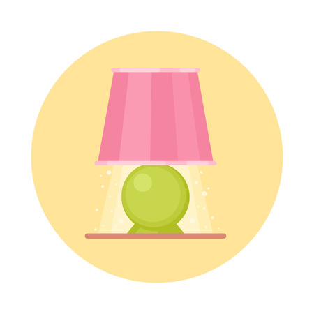 Cute flat nigh light icon. Cartoon geometric lamp on a nightstand isolated on white background. Illustration