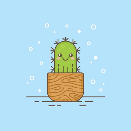 Leuke cartoon cactus karakter in een houten pot, dun gevoerd icoon. Kamerplant logo sjabloon met lijnen en contouren voor tuinieren of kinderen producten, company business branding of web design.