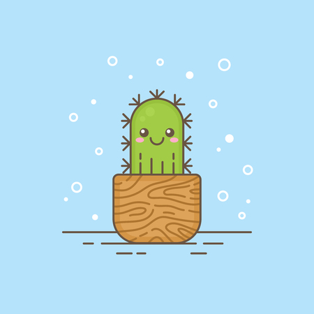 Cute cartoon cactus character in a wooden pot, thin lined icon. Houseplant logo template with strokes and outlines for gardening or kids products, company business branding or web design. Illustration