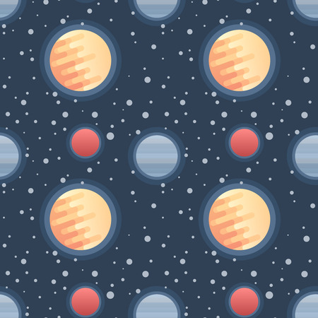 Seamless flat space pattern with planets and stars in trendy geometric style for children products, web design, backgrounds, fabric and wallpapers  イラスト・ベクター素材