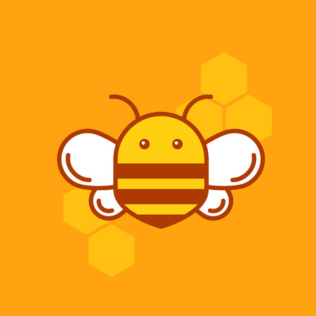 business products: Bee thin lined icon. Bumblebee logotype template  with outlines and honeycombs for organic products company, business branding or web design. Illustration