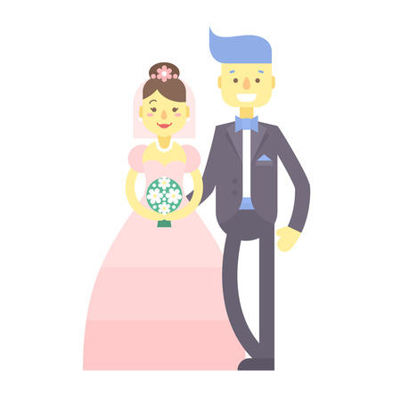 Wedding couple. Cute flat characters, groom and bride, in suit and wedding dress with flower bouquet, just married. Heterosexual relationships.