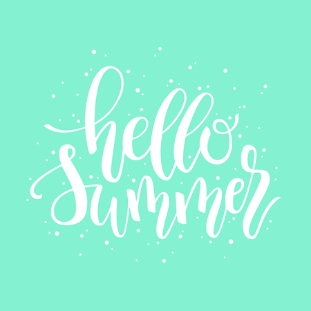 Hello Summer hand lettering design element made with digital brush and ink. Perfect for stickers, labels and tags. Illusztráció