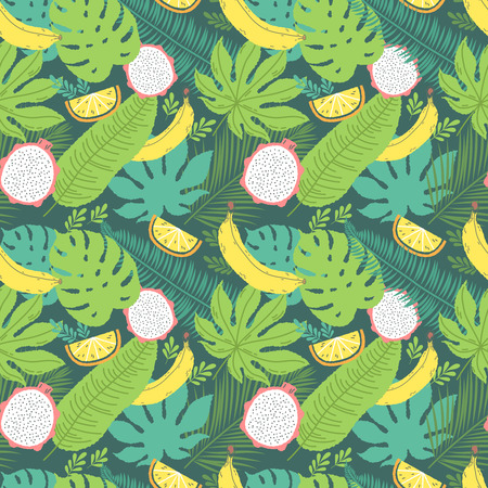 Tropical summer seamless background with repeating bananas and dragon fruit.