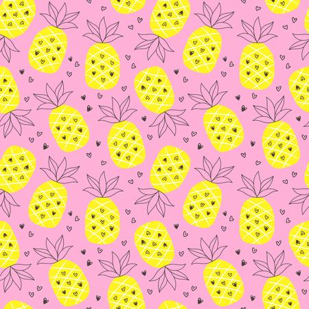 パイナップルを繰り返すと熱帯の夏のシームレスな背景。  イラスト・ベクター素材