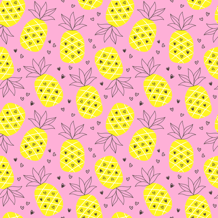 Tropical summer seamless background with repeating pineapples.