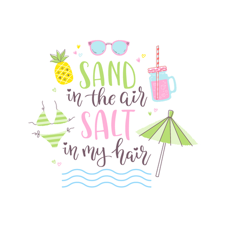 Summer design sticker with tropical beach elements and hand lettering words.