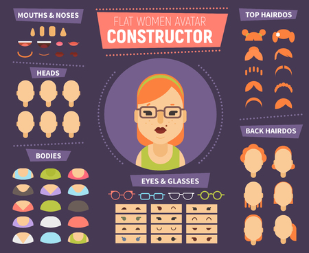 Flat women avatar constructor for generating characters portraits with different hair style, faces, race, age. Icons can be used for social network profile, in web design, print media. Banco de Imagens - 76507554