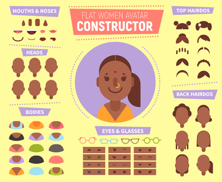 Flat women avatar constructor for generating characters portraits with different hair style, faces, race, age. Icons can be used for social network profile, in web design, print media.