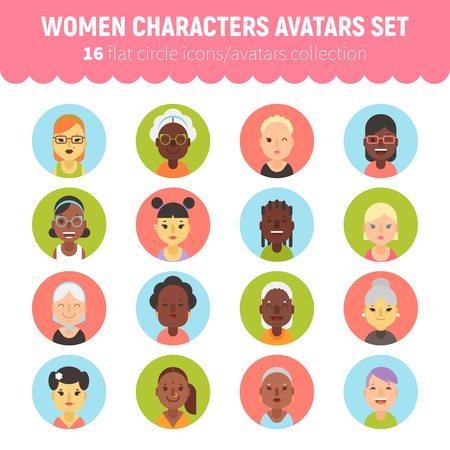 Flat women and girls character avatars collection. Flat cartoon characters circle icons for social network profiles, feminine sites and web design.