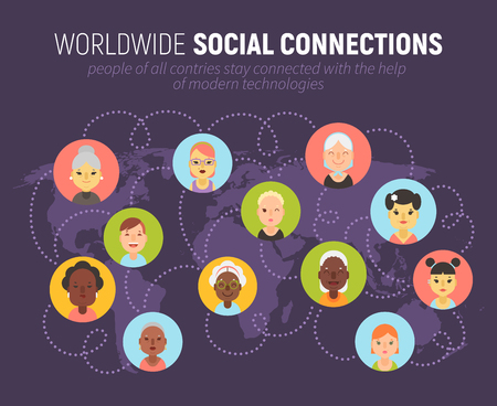 Worldwide social network community concept with women icons on a world map. People of different countries and nationalities are connected together. Banco de Imagens - 76507561