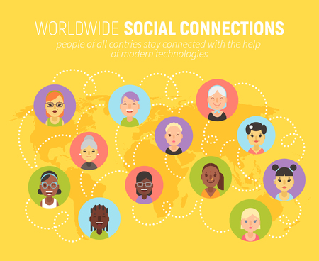 Worldwide social network community concept with women icons on a world map. People of different countries and nationalities are connected together.