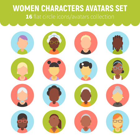 Flat women and girls character avatars collection. Flat cartoon characters circle icons for social network profiles, feminine sites and web design. Banco de Imagens - 76507563