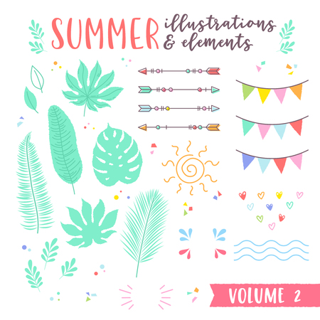 Summer design illustrations with fruits, tropical and beach elements. Great for design of products, t-shit prints, apparel, kids toys, cards and party flyers, web design icons and brand logotypes