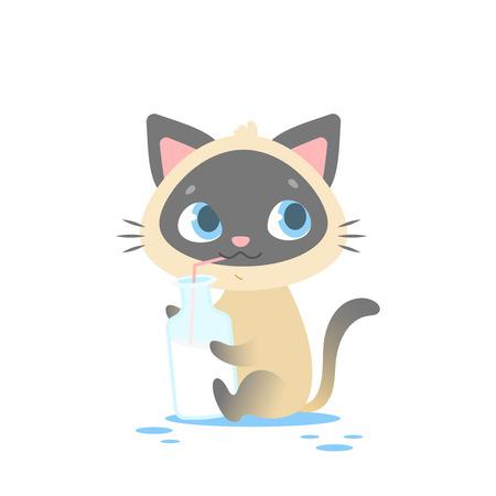 Lindo bebé gatito sentado, sosteniendo una botella de leche. Ideal para niños y niños con diseños de ropa, indumentaria, juguetes, juegos móviles y sitios web. Aislado en el fondo blanco.
