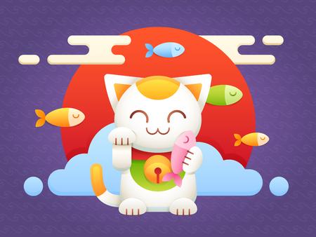 Maneki Neko personnage porte-bonheur chat vecteur plat avec poisson et fond oriental, soleil rouge et vagues japonaises Banque d'images - 80946218