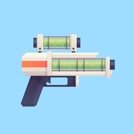 Flat cartoon sci-fi gun blaster with acid liquid. Great for mobile games, app and web design, kids toys, clothes, apparel. Stock Vector - 80946219