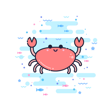 Cute cartoon crab character in a trendy flat thin line style. Great for children toys and apparel, wed design, company logo
