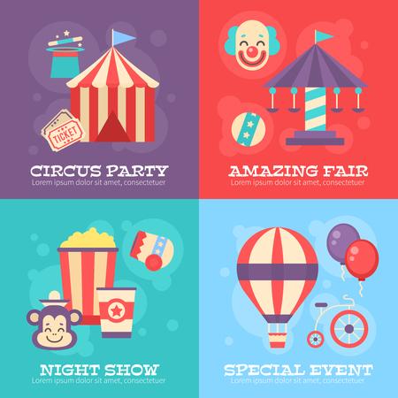 빈티지 축제 요소, 스트라이프 텐트, 광대, 회전 목마, 풍선, 성능에 대 한 마법 모자 레트로 서커스 배너. 디자인 템플릿 및 포스터