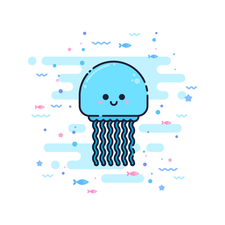 Cute cartoon jellyfish character in a trendy flat thin line style. Great for children toys and apparel, wed design, company logo Illustration