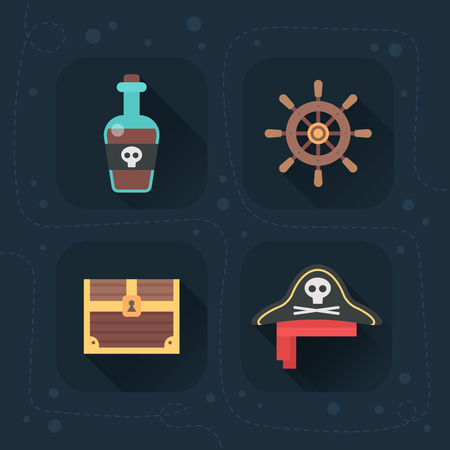 Flat pirate icons, great for logotypes, kids and children toys, clothes design and apparel, web design and mobile games Ilustração