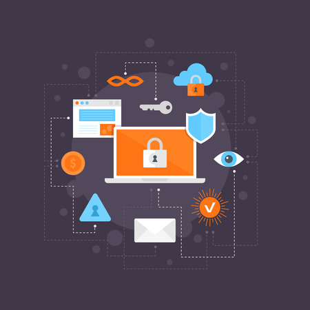 Internet security flat icons set, infographic composition with connections. Great for webdesign and online articles about hacker attacks, information, cloud storage Illustration