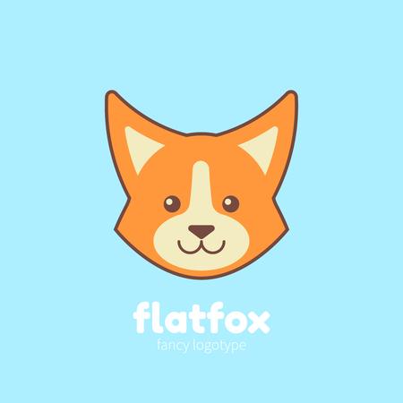 Cute cartoon flat fox stylized for company branding, pet shop, animal web site Illustration