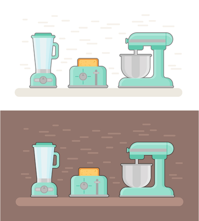 Retro kitchen devices in flat style. Vintage utensils: planet mixer, toaster, blender icons in pastel colors Illustration