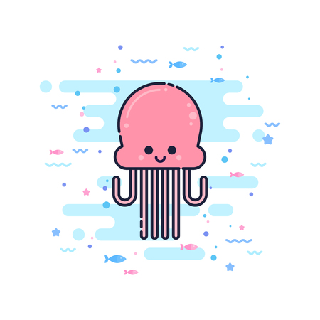 Cute cartoon octopus character in a trendy flat thin line style. Great for children toys and apparel, wed design, company logo Иллюстрация