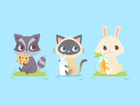 귀여운 아기 동물 앉아, 아기 너구리, 새끼 고양이, 토끼. 어린이 및 아동 의류, 의류, 장난감, 모바일 게임 및 웹 사이트 디자인에 적합합니다. 파란색