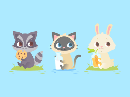 Cute baby animals sitting, baby raccoon, kitten, bunny. Great for kids and children designs of clothes, apparel, toys, mobile games and web sites. Isolated on blue background.