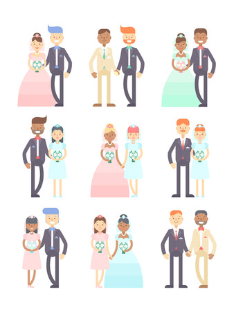 Wedding couples flat vector set of cute characters, grooms and brides, in suit and wedding dresses. Just married.