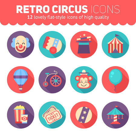 Retro circus icons set for web and graphic design, products and packaging. Festival elements, striped tent, clown, monkey, magic top hat, carousel.