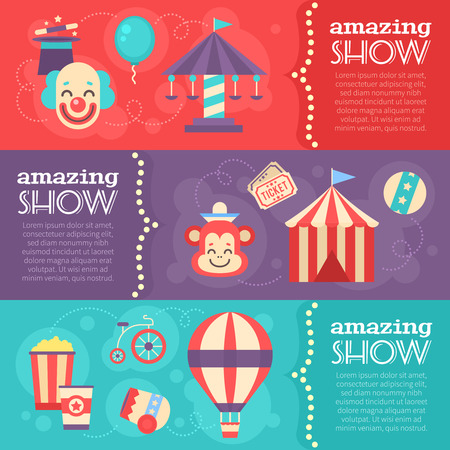 Retro circus banners with vintage festival elements, striped tent, clown, carousel, balloon, magic hat for performance. Design templates and posters