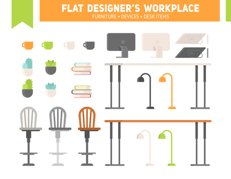 Flat workplace furniture set with drawing devices and plants. Designer's desk for banners and templates.