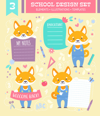 School design set with cute cartoon dog boy character and note stickers for children apparel and web templates