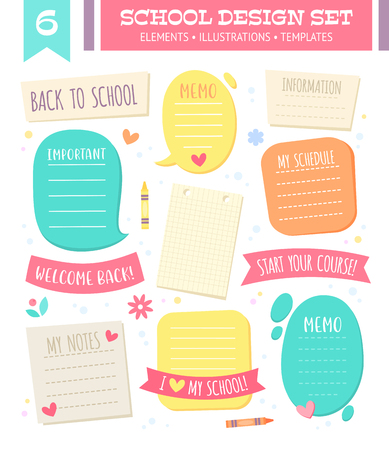 Set of empty templates and speech bubbles with space for text in school cartoon style, paper sheets from notebooks