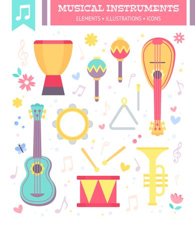 Platte muziekinstrumenten geïsoleerd op witte achtergrond met notities. Vector illustratie.