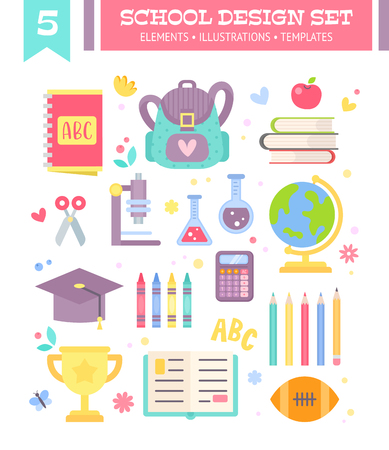 Back to school design set of cartoon education items in flat style isolated on white background Illustration