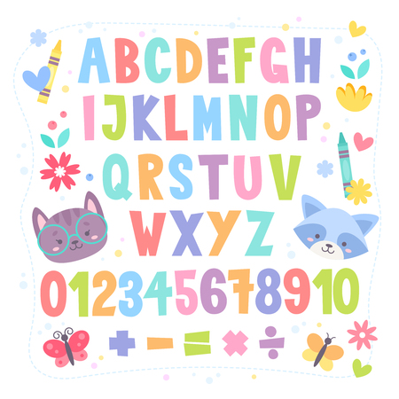 Cute cartoon colorful alphabet for children with hand drawn typography, letters and figures, isolated on white background Illustration