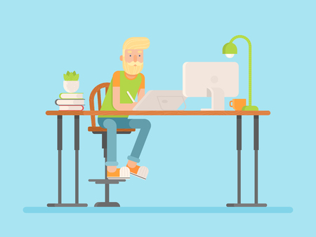 programming code: Freelance designer, CG artist character in flat style, sitting and drawing, working. Detailed workspace with desktop, digital tablet, computer, plant and lamp.