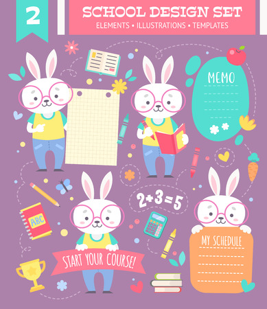 School design set with cute cartoon bunny boy character and note stickers for children apparel and web templates Illustration