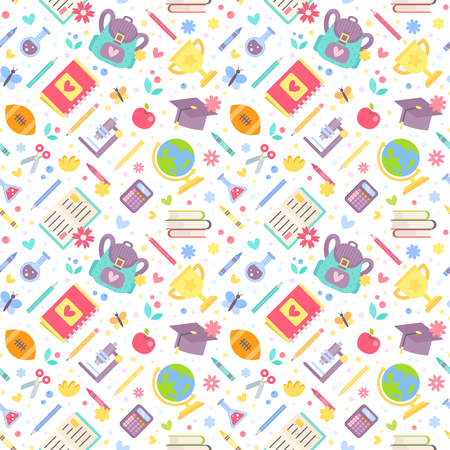 Back to school seamless pattern with cartoon education items in flat style isolated on white background