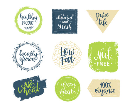 Eco templates with hand lettering for logo and banners of healthy products and organic food Illusztráció
