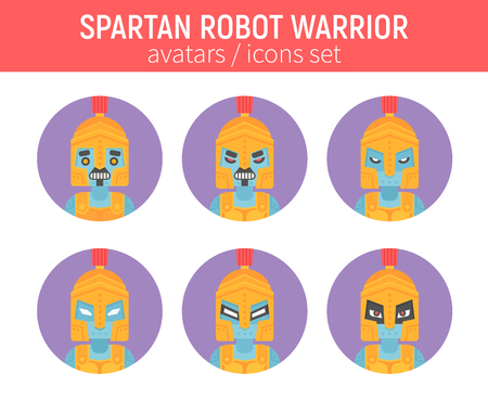 ソーシャル ネットワーク、チャット使徒アバターの古代のヘルメットでフラット スパルタ ロボット戦士アイコン