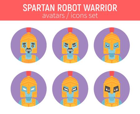 소셜 네트워크 및 채팅 메신저 avatar에 대 한 고대 헬멧에 플랫 스파르타 로봇 전사 아이콘 스톡 콘텐츠 - 84967897