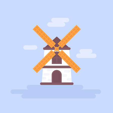 Flat wind mill icon isolated for cards and design templates Illustration